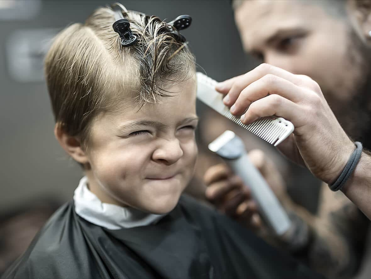 Young man back to school hair cut